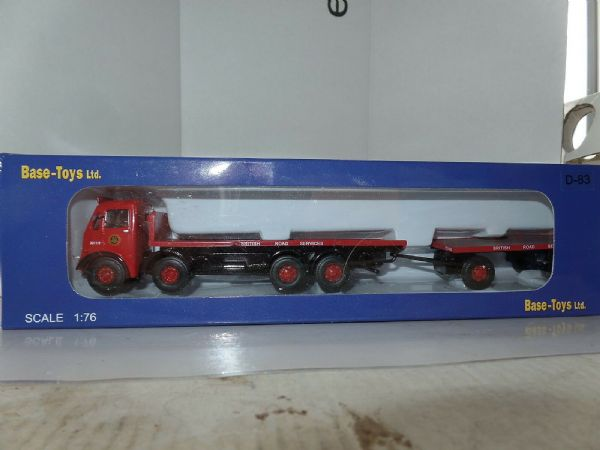 B T Models D-83 D83 1/76 OO AEC Mammouth Major Flatbed +Trailer BRS British Road